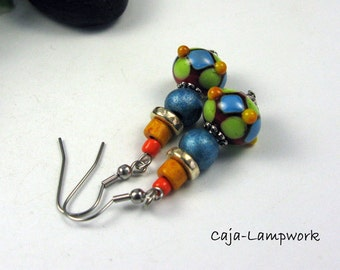 colorful earrings, Lampwork, beads, colorful