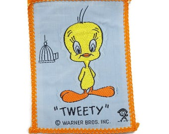 Vintage Tweety Bird Patch- Vintage Looney Tunes Patch- Warner Bros- Sew On Embroidered Patch 3in Rectangle- 80s Looney Tunes- Cartoon Patch