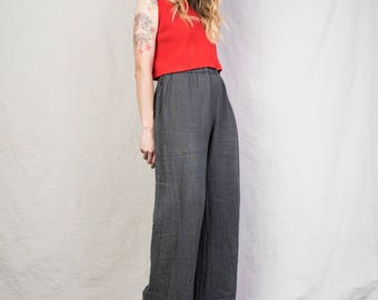 AMAZING Vintage Grey Elastic Waist Linen Pants / S / 90s flowy summer pants festival trousers so comfy gray charcoal