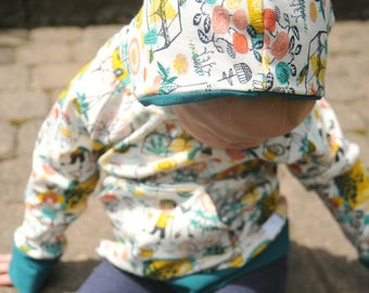 ORGANIC Hoodie, Hoody, Sweater, Certified Organic Cotton, Baby, Newborn, Infant, Toddler, Girls, Vintage, Floral, Teal, Gold, Dutch, Garden