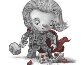 "11X14"" Baby Thor, Color Print, Signed by the artist, Will Terry"