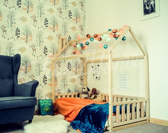 Wood bed CRIB size, house bed frame, bed house, wood bed, baby bed, kids bed, wooden bed, kids teepee, wood nursery bed house, wooden house