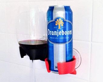 BevBuddy Shower Beer Beverage Wine Glass Holder for Shower Bathtub Bath