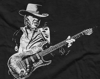 STEVIE RAY VAUGHN - Texas Blues Guitarist - Double Trouble - Guitar Tee - Classic Rock and Blues Icon