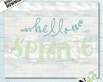Spring Printable, Hello Spring Home Decor, Spring Seasonal Print, Easter Printable, Spring Shiplap Sign, Easter Decor, Rustic | PRINTABLE