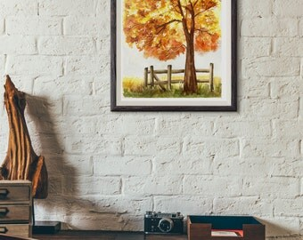 watercolor tree painting watercolor landscape painting nature painting nature wall art living room decor autumn tree oak tree art print