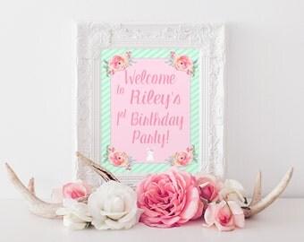 Bunny Birthday Sign, Bunny Birthday, Welcome Sign, First Birthday, 1st Birthday, Party Decor Sign, Bunny Sign, Spring Birthday, Printable