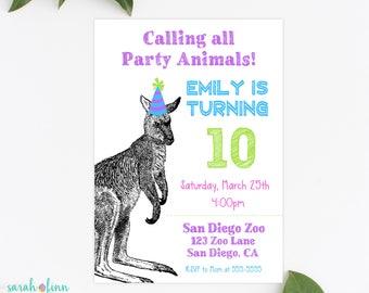 Kangaroo Invitation, Kangaroo Birthday Party, Australia, Party Animal Invitation, Zoo Invitation, Printable Invitation, Wallaby, Kangaroos