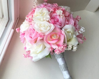 Pink and White Bridal Wedding Bouquet