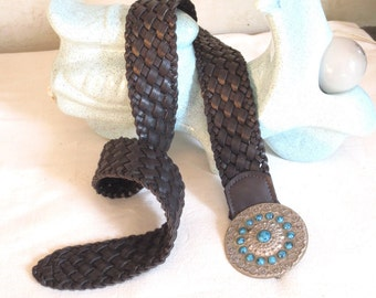 belt vintage braided faux leather Brown loop ethnic Bohemian turquoise