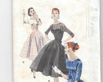 Butterick 7551 Vintage 1950s Misses'  Empire Line Dress, Size 12 Bust 30 Sewing Pattern