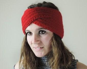 Turban Headband, Knit Headband, Red Turban Headwrap, Boho Headband, Knitted Ear Warmer, Bohemian Knitted Headband
