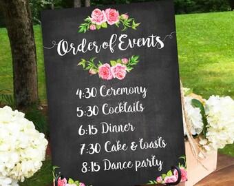 Wedding Signs, Wedding Day Schedule, Wedding Day Printable, Wedding Schedule, Wedding Day, Order Of Events, Sign Wedding Day, Wedding Prints