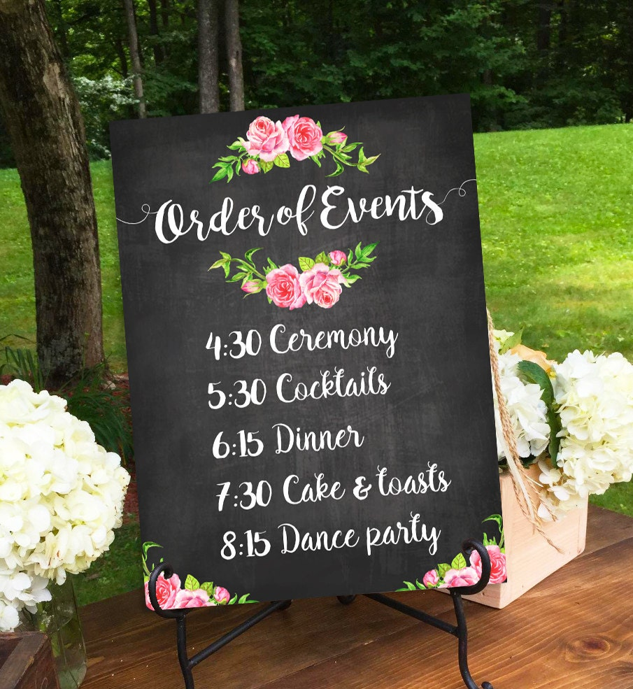 schedule signs order sign printable events rustic prints ceremony reception visit request something custom