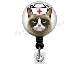 RN Grumpy Cat Badge Reel, Nurse Badge Holder, Retractable Badge Reel, ID Badge Reel, Nurse Badge Reel, Name Badge Reel, 256B