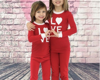 Kid's Sparkly Pajamas- Red Stretch-Solid Top- PJs-Sparkly Pajamas- Children's infant PJs