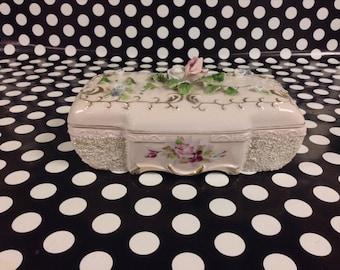Pastel Treasures~Roses~Gold Gilding~Ceramic Box~Jewelry~Vanity