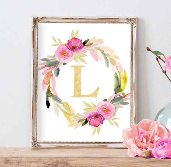 Watercolor Floral Wreath Monogram, Colorful Nursery Art,  Nursery Monogram, Personalized Watercolor Nursery Art, Dorm Decor, Office Decor