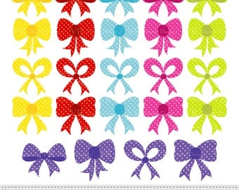 Colorful Bows Polka Dot Clip Art, Digital Bow Clipart, Gift Ribbon Bow Graphics, Digital Download Vector Clip Art