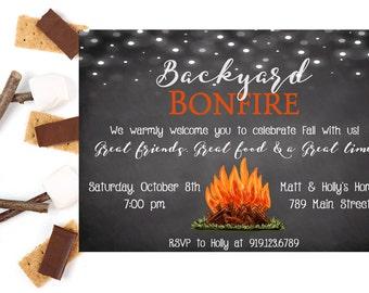 Bonfire Invitation, Backyard Bonfire, Bonfire Party Invitation, Bonfire Party, Cookout Party, Backyard Party Invitation, Printable Invite