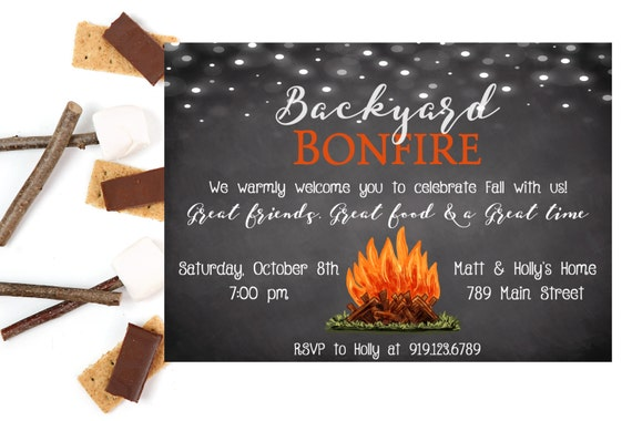 bonfire invitation backyard bonfire bonfire party, Party invitations