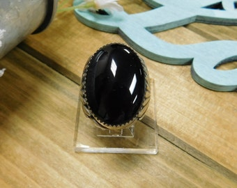 Large Mens Black Onyx Silver Ring Size 9.5