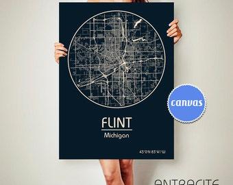 FLINT Michigan CANVAS Map Flint Michigan Poster City Map Flint Michigan Art Print Flint Michigan