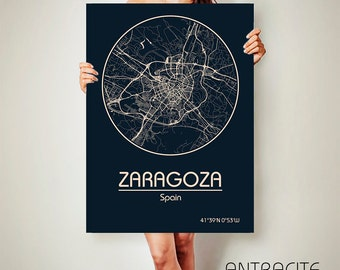 ZARAGOZA Spain CANVAS Map Zaragoza Spain Poster City Map Zaragoza Spain Art Print Zaragoza poster Zaragoza map art Poster Zaragoza map
