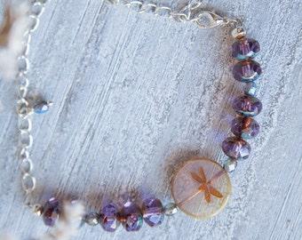 Violet Bracelet, Dragonfly Bracelet,  Violet Crystal Bracelet, Whimsical Bracelet, Dragonfly Charm, Woodland Jewelry, Violet Jewelry