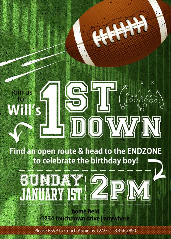 football 1st down birthday party invitation