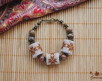 Boho bracelet birthday gift for wife gift for sister jasper bracelet stone jewelry energy bracelet brown boho jewelry embroidered jewelry