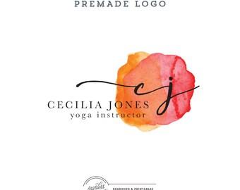 Logo design Premade Watercolor, Business Logo, Calligraphy Logo, Watercolor Logo, Feminine Branding, Premade Logo Design, Logo and watermark