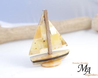 BOAT made of Baltic Amber 13679 +Certificate   decoration handmade Polish myamber ship sailing boat