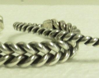 2 Vintage Hand Double / Single Twisted Sterling Silver Bracelets.