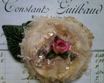 shabby silk and tulle champagne and rose brooch, mother of the bride, hand made fabric brooch, wedding pin