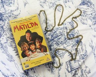 VHS video case handbag, Matilda shoulder bag, clutch, retro, up-cycled