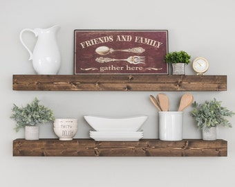 SET OF (2)** Floating Shelves, Shelf, Farmhouse Shelves, Nursery Shelf, Chunky Shelf, Kitchen Shelf, Rustic Floating Shelves, Wood Shelf