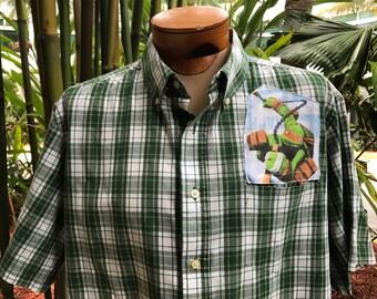 Teenage Mutant Ninja Turtles Shirt- Mutant Ninja Turtles Shirt- Mutant Ninja Turtles Gift- Up cycled- Vintage 2012 Turtles Fabric- Size XL