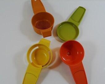 Vintage Tupperware Small Kitchen Utensils, Tupperware Measure, Egg Separator, Tea Strainer and Small Funnel, Tupperware Kitchenalia Utensils