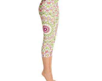 Mid Rise Capri Yoga Pants for Spring - Bright Summer Fun Leggings, Cute Mandala Flower Leggings, Printed Leggings Tights