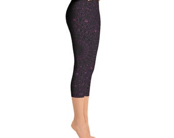 Capris - Byzantium Yoga Pants, Black Leggings with Purple Mandala Designs for Women, Printed Leggings, Pattern Yoga Tights