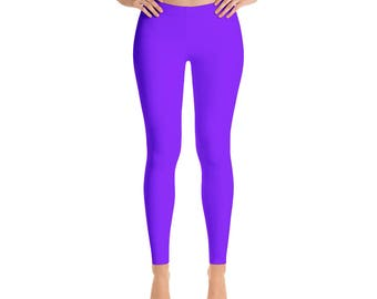 Violet Leggings - Mid Rise Waist Workout Pants, Bright Colored Leggings for Yoga