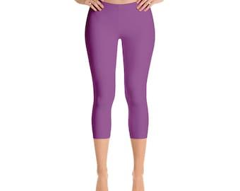 Capris - Plum Leggings, Workout Yoga Pants, Mid Rise Waist Purple Stretch Pants for Women