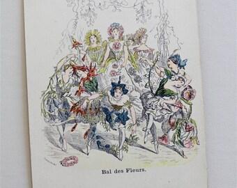Les Fleurs Animees Postcard - Grandville Flowers - Victorian Botanical Print - Anthropomorphic Fantasy