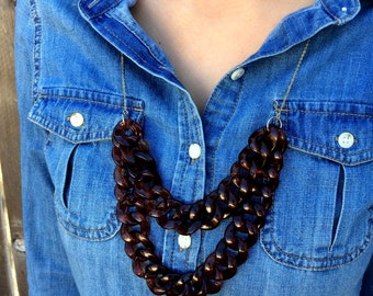jcrew necklace Long statement Necklace / Chain Link Necklace / j crew necklace  j. crew Necklace / Orendia / Double Layer Statement Necklace