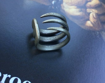 Mid Century vintage ring -3 Talon Brutalist Ring,Finger Wrap-Medieval Ring-Game Of Thrones,Gift For Friend