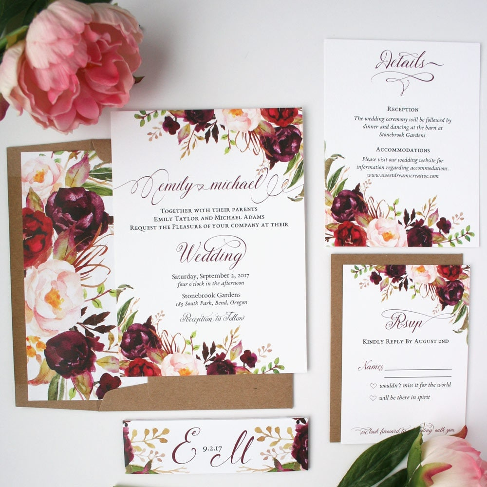 Fall Wedding Invitations Burgundy Amp Blush Wedding