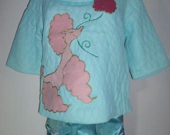NOS 1950's Darling Quilted Applique Fuzzy Poodle Pajamas Blue Satin Tapered Leg Pants, Side Pocket Side Closure