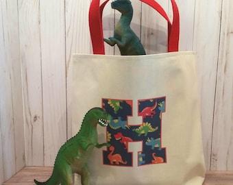 Dinosaur tote, Dinosaur birthday, Monogram tote,  Preschool tote bag, Kindergarten tote