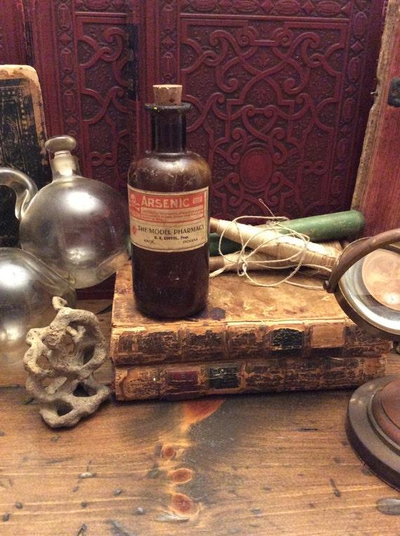 Poison Bottle, Arsenic, Brown Glass Medicine Bottle, Apothecary, Pharmacy (0049)